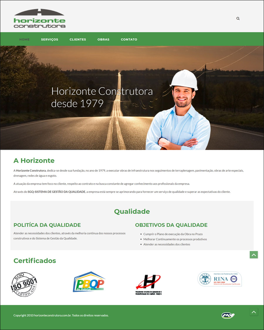 Site: Horizonte Construtora